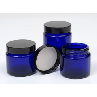 60ml Blue Lake Glass Jar with Black Cap