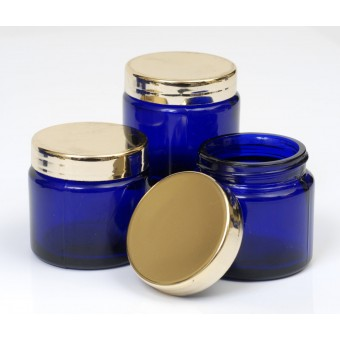 60ml Blue Lake Glass Jar with Gold Cap
